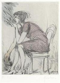 Artwork by Adolf Frohner, 2 works: Frau mit Zigarette und Frau mit Zigarre, Made of etching
