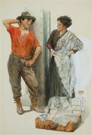 Artwork by Arthur E. Becher, The Linen Salesman, Made of Watercolor and gouache on board