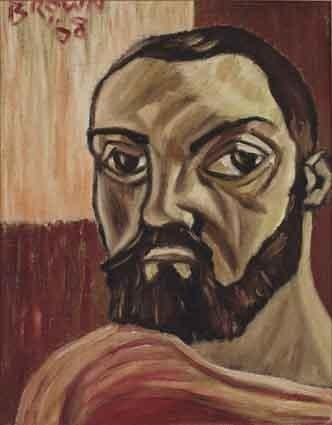 Artwork by Christy Brown, SELF PORTRAIT, Made of oil on board