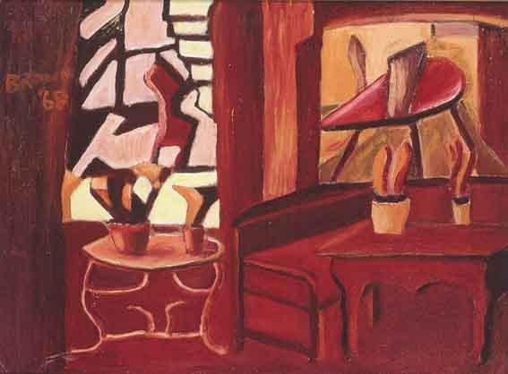 Artwork by Christy Brown, ROOM INTERIOR IN RED, Made of oil on board