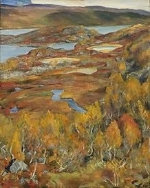 Artwork by Erik Werenskiold, High mountain, fall Haugastøl, Made of Oil on canvas