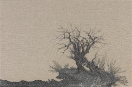Artwork by Angelo Filomeno, Haunted Land (Olive Tree), Made of embroidery on linen