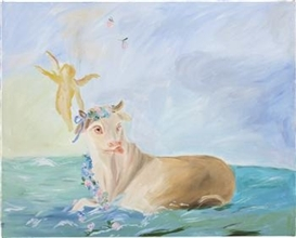 Artwork by Karen Kilimnik, Swimming in the Atlantic at Dawn, Made of water soluble oil on canvas
