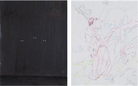 Artwork by Spencer Sweeney, 2 works: Three; Untitled, Made of mixed media on paper; pencil on paper