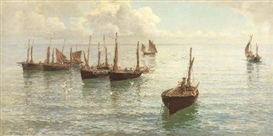 Artwork by Hamilton Macallum, THE FLEET AT ANCHOR, Made of oil on canvas