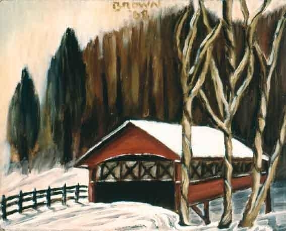 Artwork by Christy Brown, GARAGE IN THE SNOW, Made of oil on baord