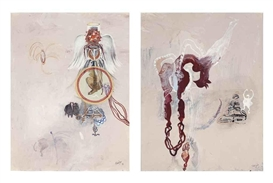 Shahzia Sikander, 2 works: Wings, Veils and Dresses I; Untitled