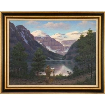 Lake Louise and Mountains, as it was in 1903 By Robert Lindneux ,1903
