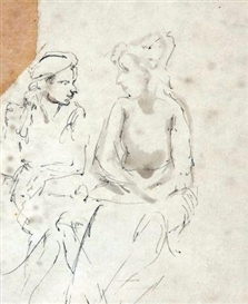 Artwork by Mervyn Peake, Women at a Caf Table, Made of Pen, Ink and Wash