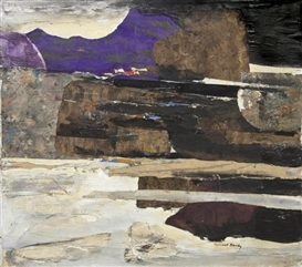 Artwork by Leonard Brooks, Coastal Crete, Made of collage on canvas