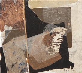 Artwork by Leonard Brooks, Black and Brown, Made of collage on canvas