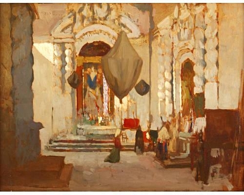 james kerr lawson   cathedral interior oil on board