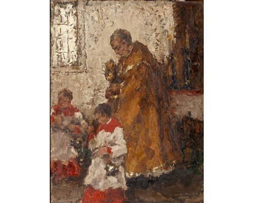 Wilhelm Blanke Church Mass Oil On Board