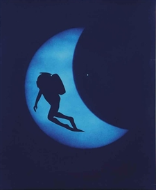 Artwork by Eve Sonneman, Diver on Lunar Eclipse, 1988, Made of Polaroid print