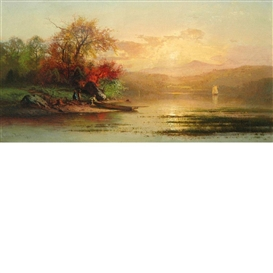 Artwork by Arthur Parton, Autumn Sunset Over a Lake, Made of Oil on canvas