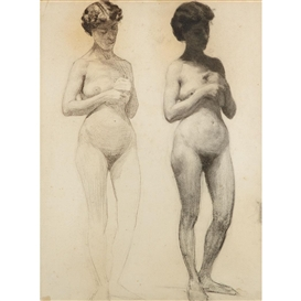 Artwork by Thomas Anshutz, Two Studies of Nude Model, Made of Charcoal on paper