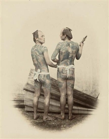 "Artwork by Felice A. Beato, ""Coolies"" (tattooed men, Japan), Made of Hand-colored vignetted albumen print"