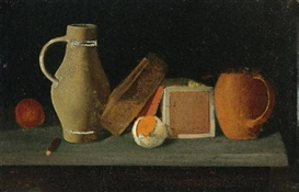 Artwork by John Frederick Peto, Jug, Book, Box and Mug, Made of oil on panel