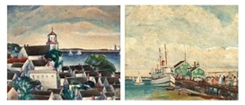 Artwork by Nancy Maybin Ferguson, Two works:THE CHURCH TOWER;THE FERRY TERMINAL, Made of oil on board
