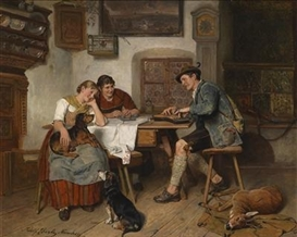 Artwork by Adolf Eberle, Musical Entertainment in the Alps, Made of oil on panel