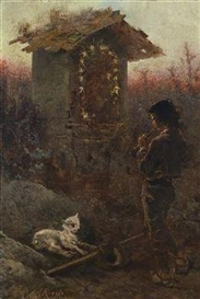 Artwork by Anton Romako, Italian Shepherd Boy by a Wayside Shrine, Blowing his Shepherd's Pipe, Made of oil on canvas