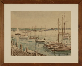 Artwork by Julius Delbos, Edgartown Harbor, Made of Watercolor on paper