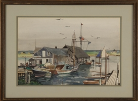 Artwork by Julius Delbos, Edgartown Yacht Club, Made of Watercolor on paper