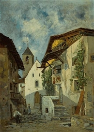 Artwork by Theodor von Hörmann, A village scene with two figures, thought to be Imst in Tyrol, Made of oil on canvas