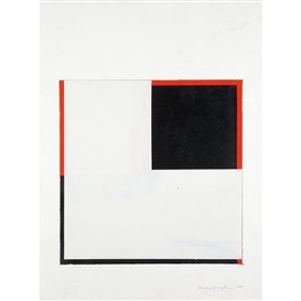 Artwork by Harvey Quaytman, Study for Covering Letter I, Made of Acrylic on paper