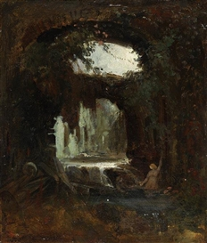 Artwork by Carl Spitzweg, Grotte mit badenden Nymphen, Made of Oil on cardboard, on panel