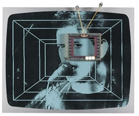 Artwork by Nam June Paik, Video Sonata Op. 56, Made of Silkscreen on aluminum with miniature TV frame, with decorative gems