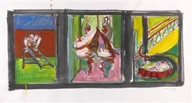 Artwork by Norbert Tadeusz, Triptychon, Made of Gouache, pastel and charcoal on firm paper