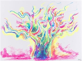 Artwork by Rupprecht Geiger, Baum, Made of Wax crayon on cardboard