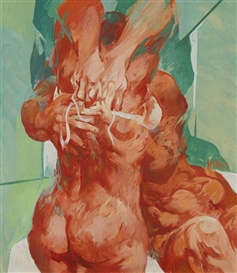 Artwork by Willi Sitte, Rotes Liebespaar auf grünem Grund, Made of Oil on cardboard
