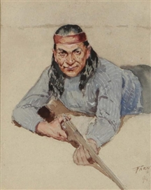 Artwork by Henry Francis Farny, An Apache, Made of Watercolor