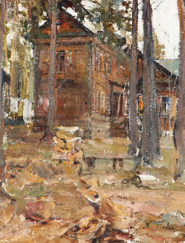 Nicolai fechin house in the forest oil on for Nicolai fechin paintings for sale