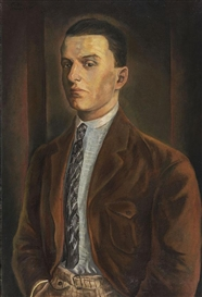 Artwork by Willi Geiger, Porträt eines jungen Mannes, Made of Oil on canvas