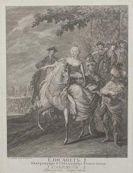 Artwork by Johann Elias Ridinger, Die Kaiserin Elisabeth I. von Russland zu Pferde, Made of etching