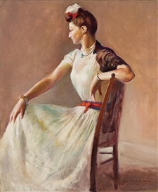 Artwork by Guy Pène du Bois, Lady in White, Made of oil on canvas