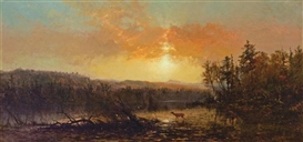 Artwork by James McDougal Hart, Sunset in the Adirondacks, Made of oil on canvas