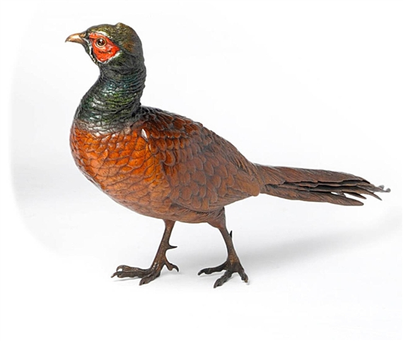 bergmann franz model of a strutting cock pheasant 1910. Black Bedroom Furniture Sets. Home Design Ideas