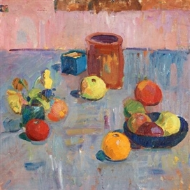 Artwork by Karl Oscar Isakson, Still life with fruits and pot, Made of Canvas