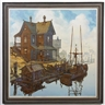 David Waller, Harbor scene with boats and house