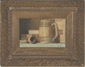 Artwork by John Frederick Peto, Pipe, Stein, and Books, Made of Oil on board