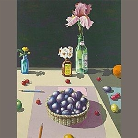 Artwork by Paul Wonner, Basket of Plums, Made of Lithograph in colors on wove paper