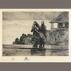Artwork by Winslow Homer, Perils of the Sea, Made of Etching on simili japon paper