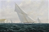 Michael J. Whitehand, Shamrock, Britannia, and Lulworth Racing off Isle of Wight, with Lulworth Behind Needles