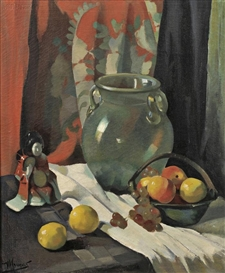 Maurice Compris, Still Life with Fruit, Jar, and Figurine