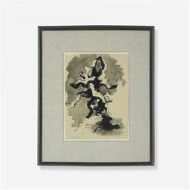 Artwork by Jacques Lipchitz, Study for the Flight, Made of ink on paper