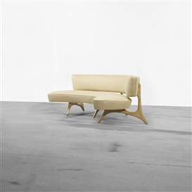 Artwork by Vladimir Kagan, Floating Curve sofa, Made of upholstery, tiger maple